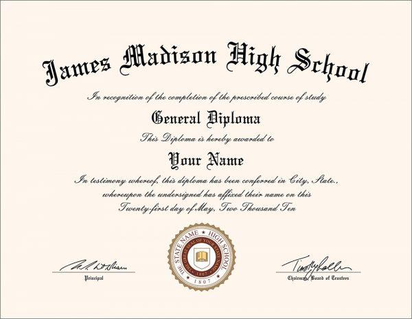 Fake James Madison High School diploma